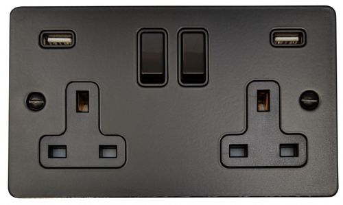 G&H FFB910B Flat Plate Matt Black 2 Gang Double 13A Switched Plug Socket 2.1A USB